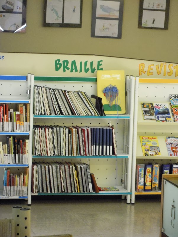 Regál s dětskými knihami v Braillově písmu