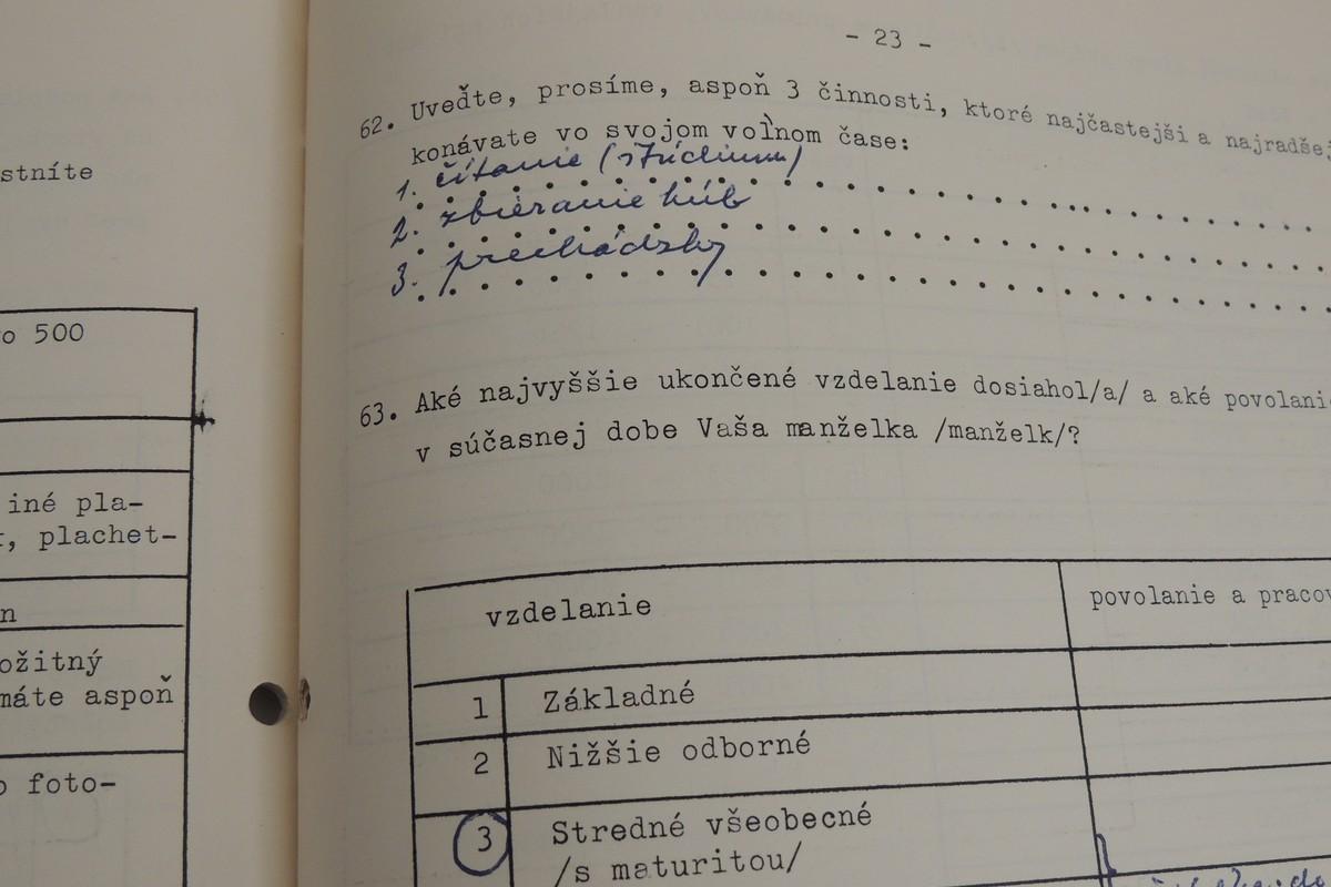 Ukážka z Dotazníka vysokoškolského učiteľa