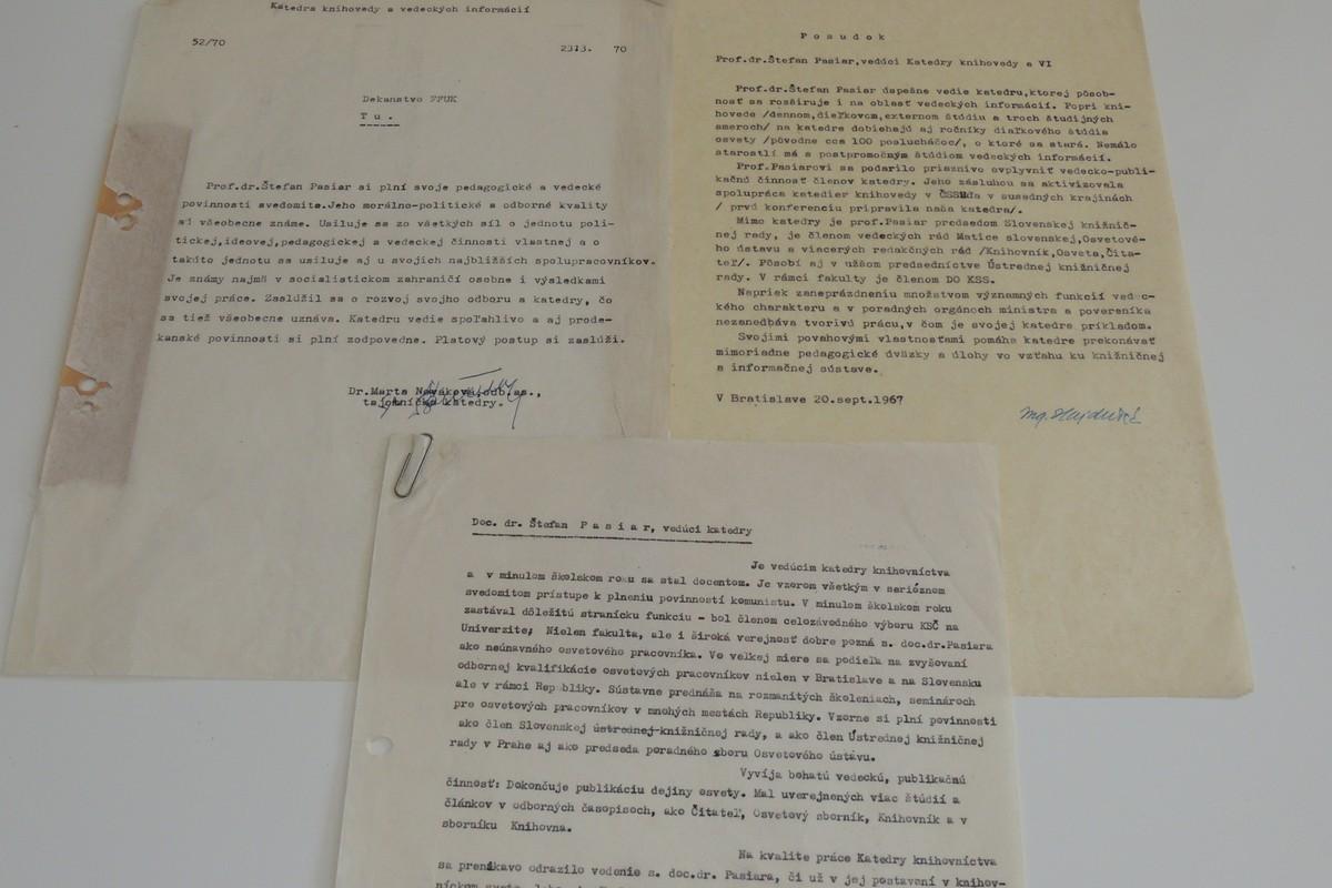 Ukážka hodnotení prof. Pasiara z archívu KKIV