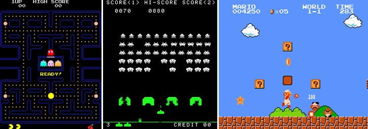 Trojice legendárních her: Pac-Man, Space Invaders a Super Mario Bros