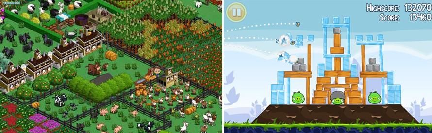Populární hry na Facebooku a mobilních platformách: FarmVille a AngryBirds