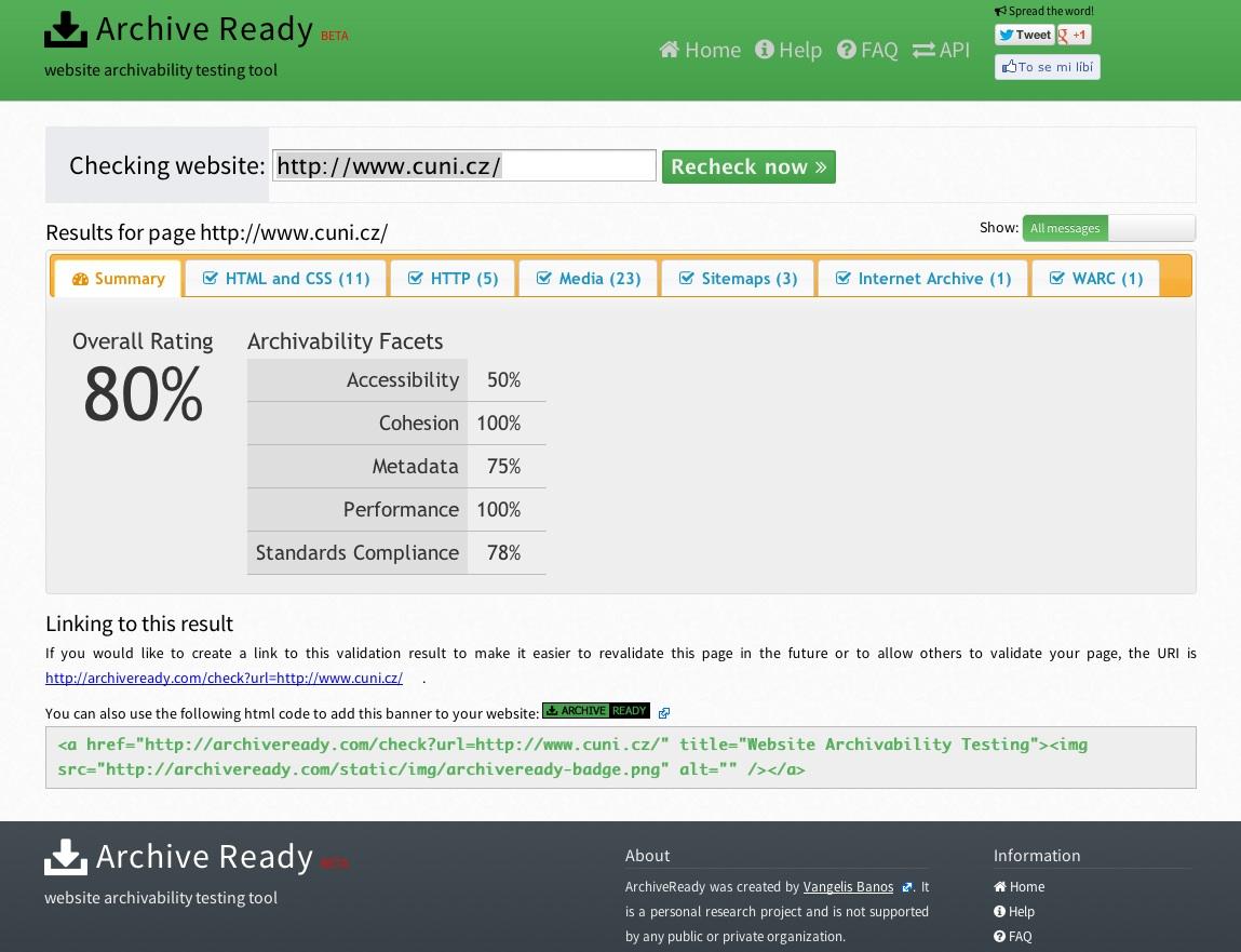 Screenshot hodnocení webu cuni.cz na stránkách ArchiveReady