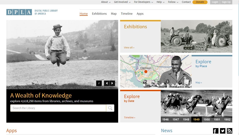 Hlavní stránka Digitální veřejné americké knihovny