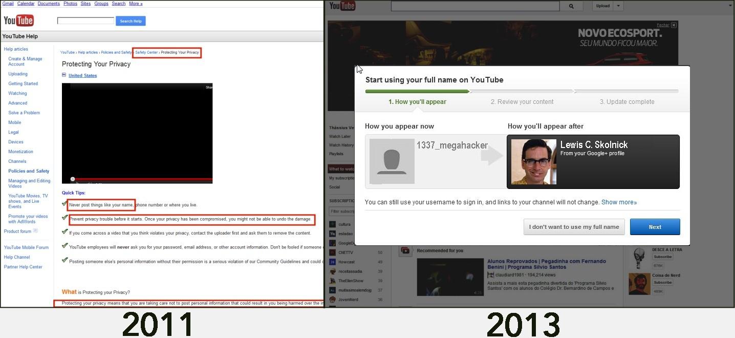 Příklad výrazného posunu v ochraně soukromí na YouTube