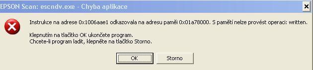 Chybová hláška ve Windows