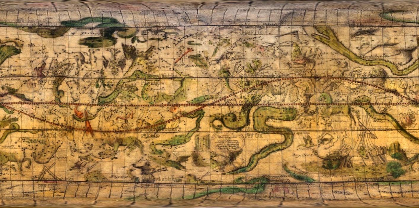 Rozvinutí nebeského glóbu M. Seuttera z roku 1710 do roviny