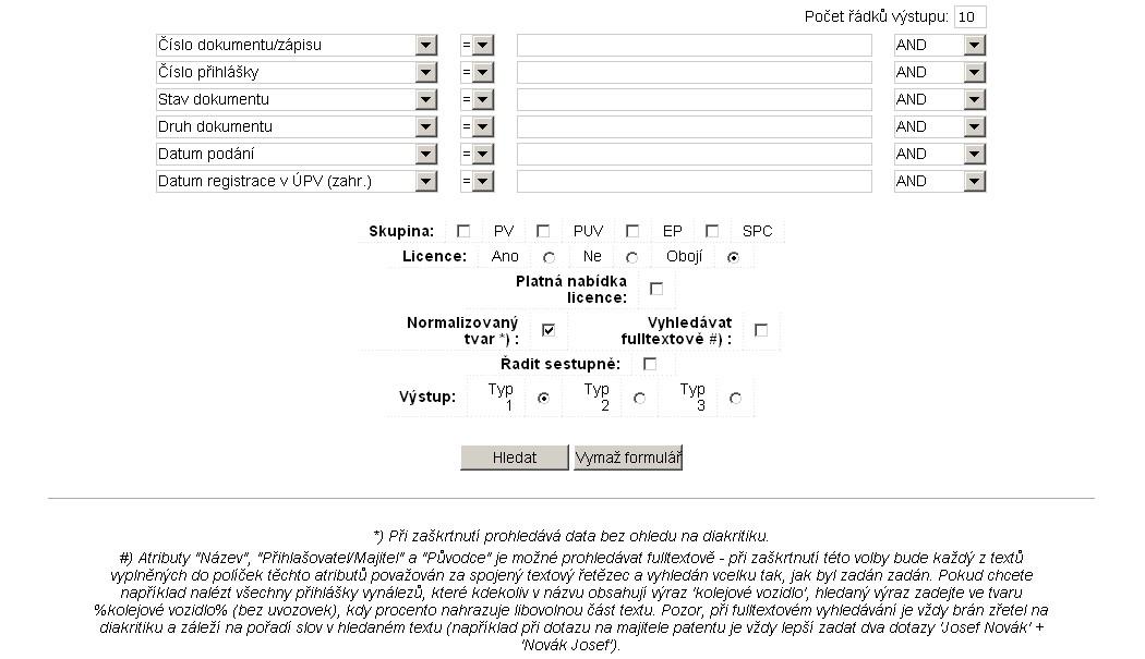 Národní patentová databáze - pokročilé vyhledávání