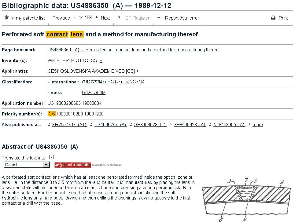 Databáze Espacenet – Bibliographic data