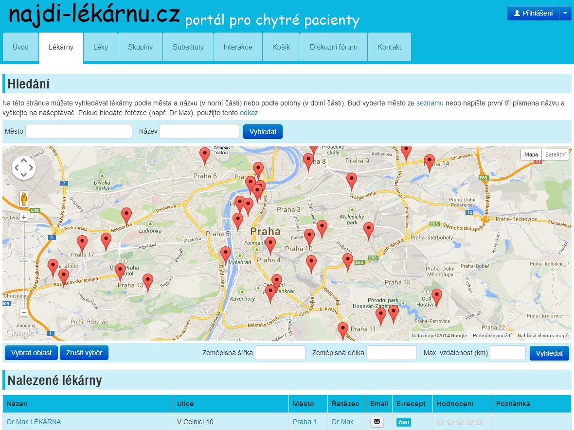 Webové stránky najdi-lékárnu.cz