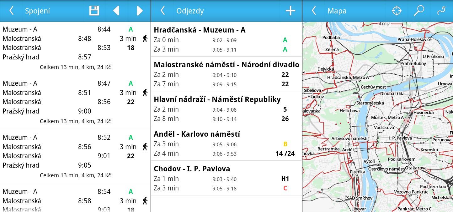 Několik screenshotů z aplikace Prague Transport
