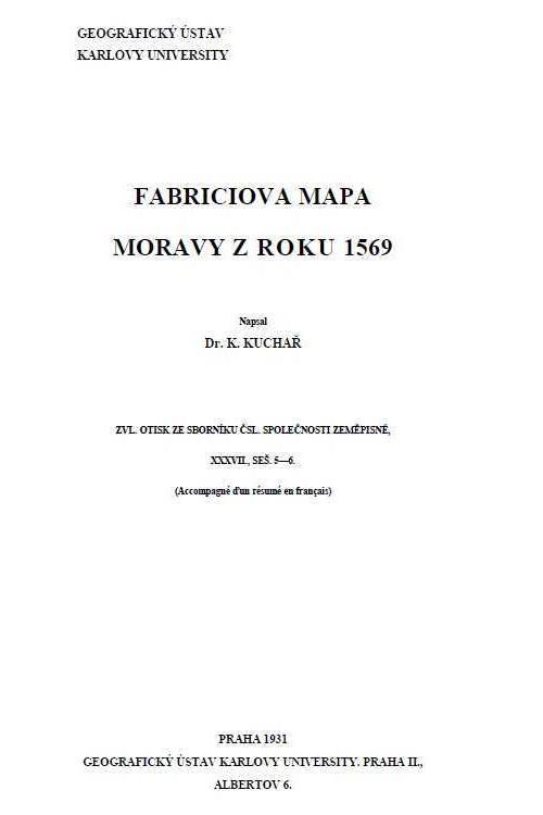 Titulní list Fabriciovy mapy Moravy z roku 1569