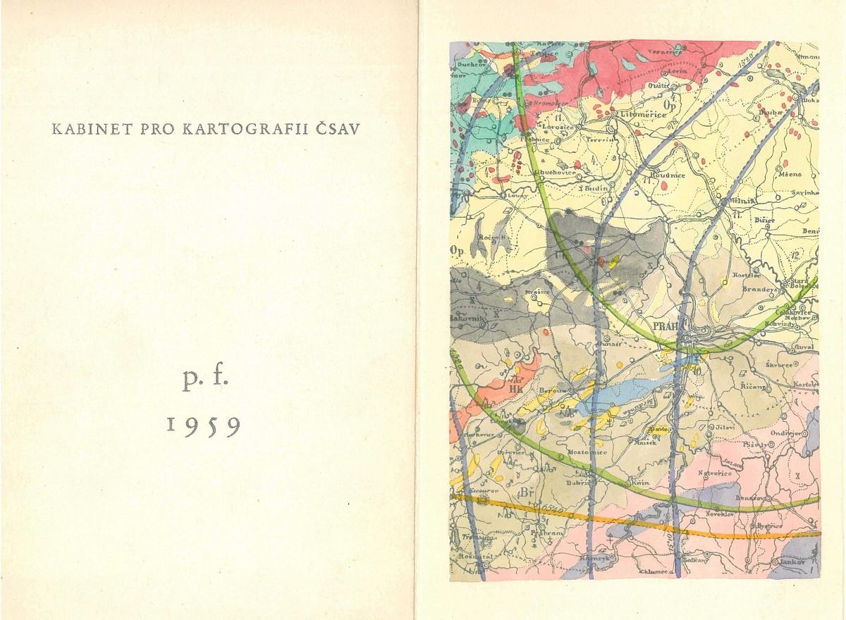 P.F. Karla Kuchaře z roku 1959 s Amerlingovou geognostickou mapou Čech