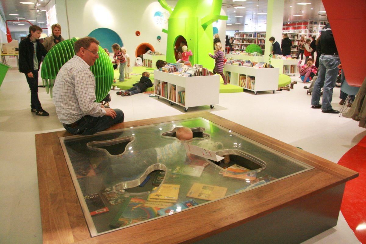Netradiční dětské oddělení v Městské knihovně v Hjørringu