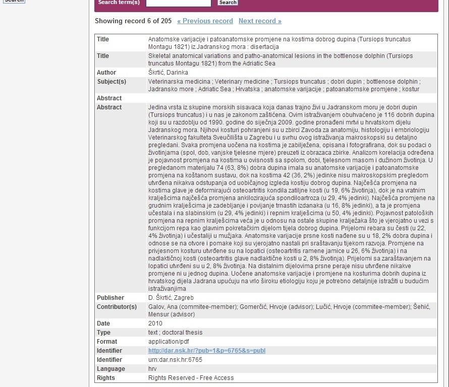 Obrázek 4 - Ukázka metadatového záznamu chorvatské práce