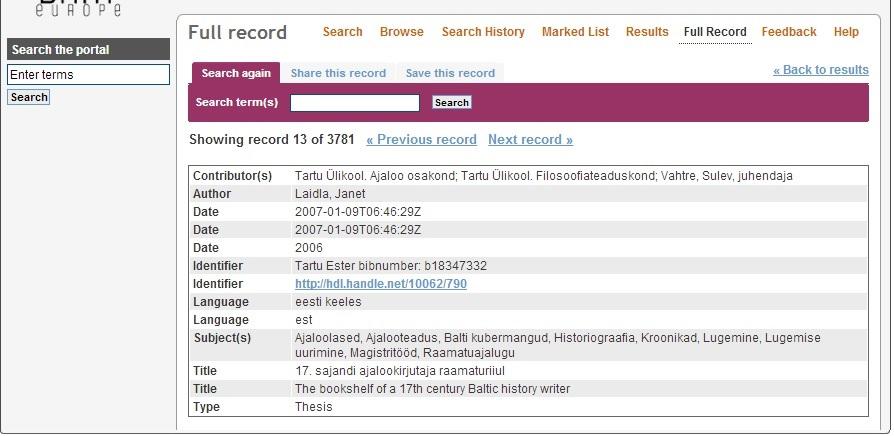 Obrázek 5 - Ukázka metadatového záznamu estonské práce