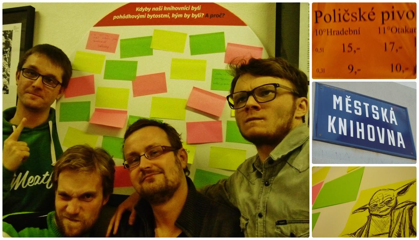 Část týmu ODEZVA společně s ředitelem Městské knihovny Polička Janem Juklem