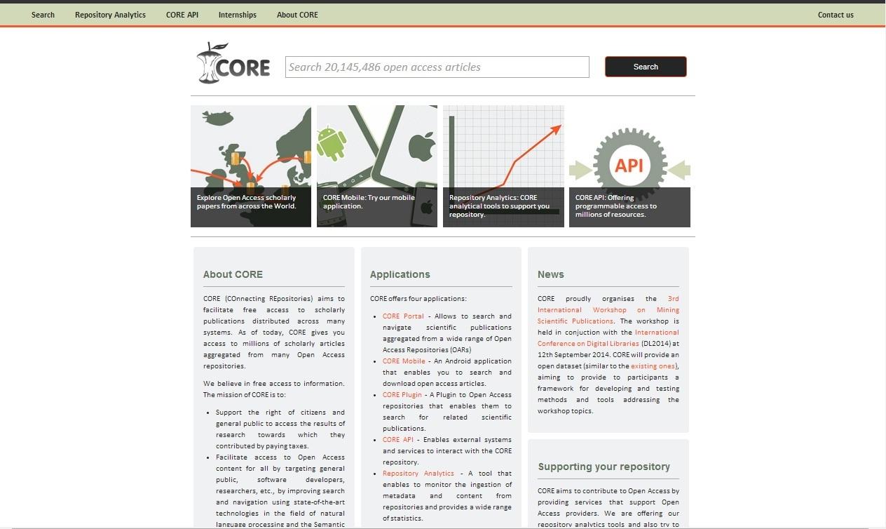 Náhled webového rozhraní systému CORE