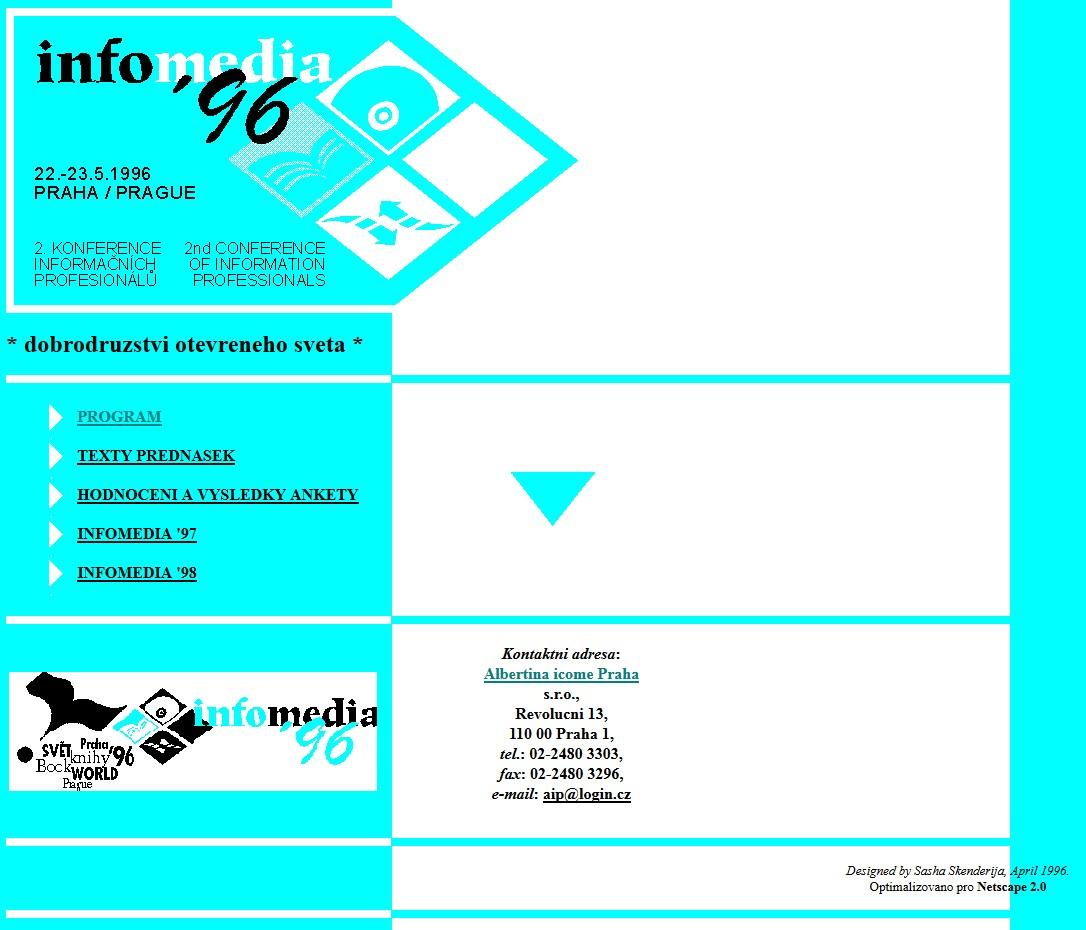 Webové stránky konference InfoMedia '96