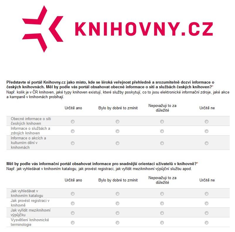 Náhled dotazníku k informační části portálu Knihovny.cz