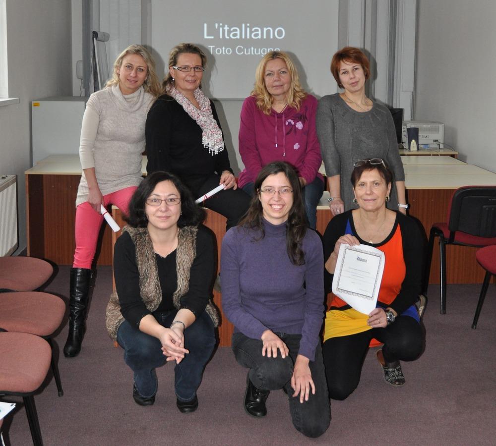 Francesca Donzelli a účastnice její lekce italštiny