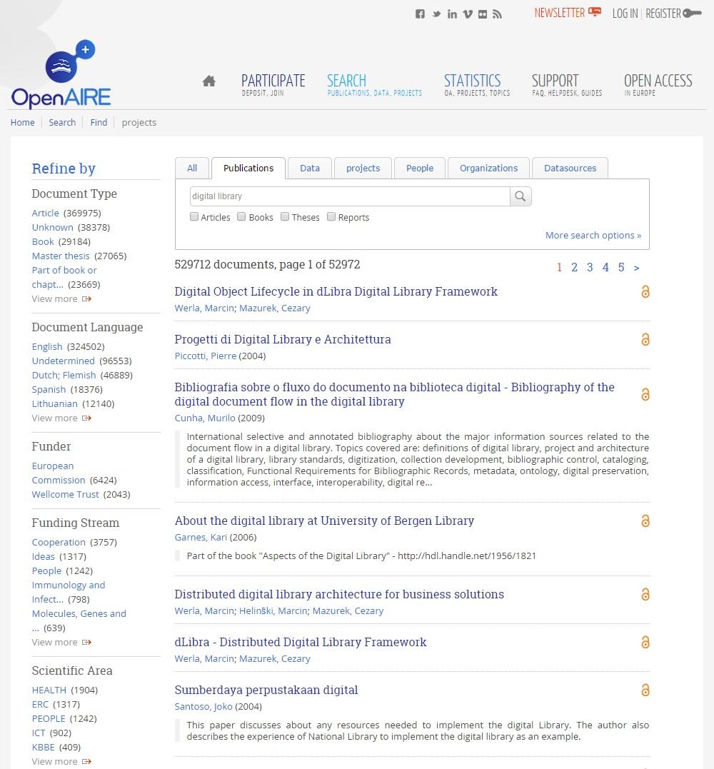 Náhled množiny výsledků vyhledávání a faset údajů
