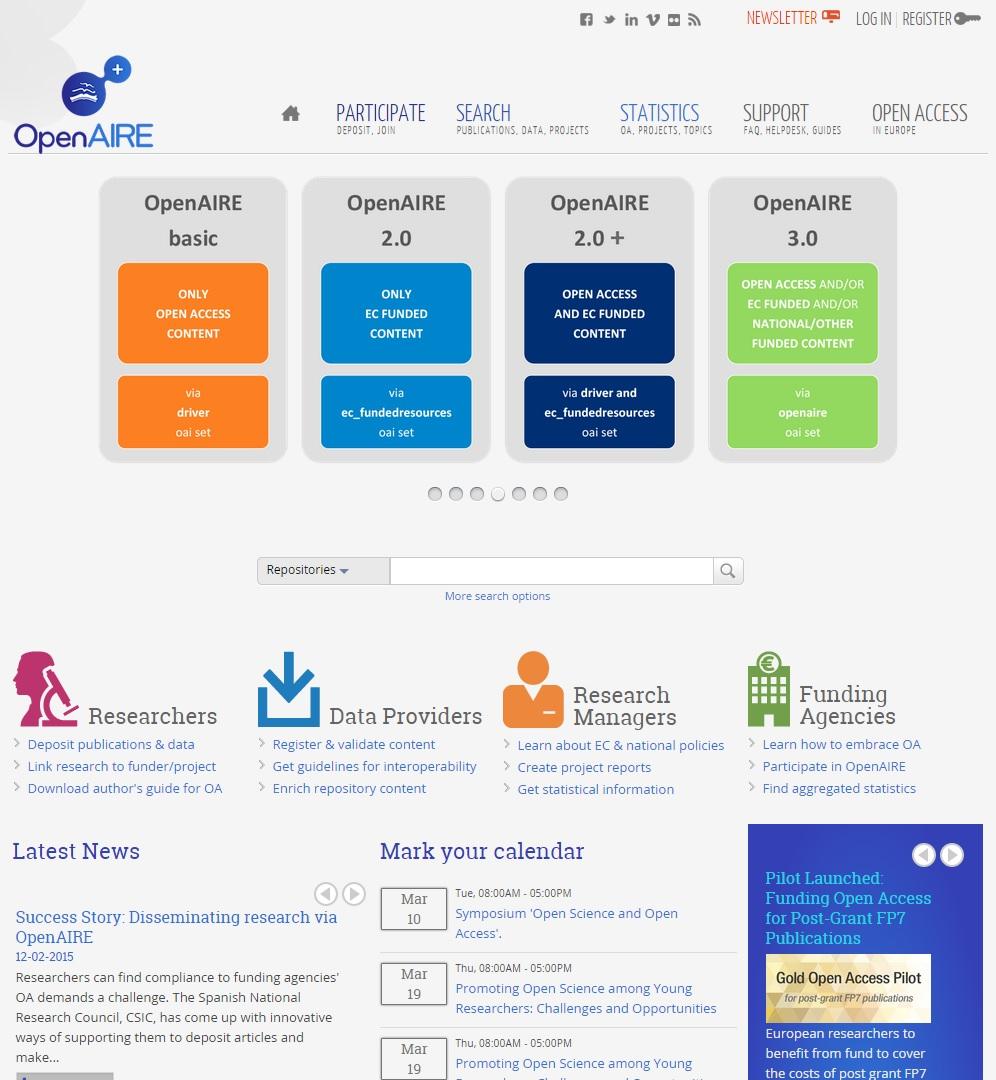 Náhled webového rozhraní portálu OpenAIRE