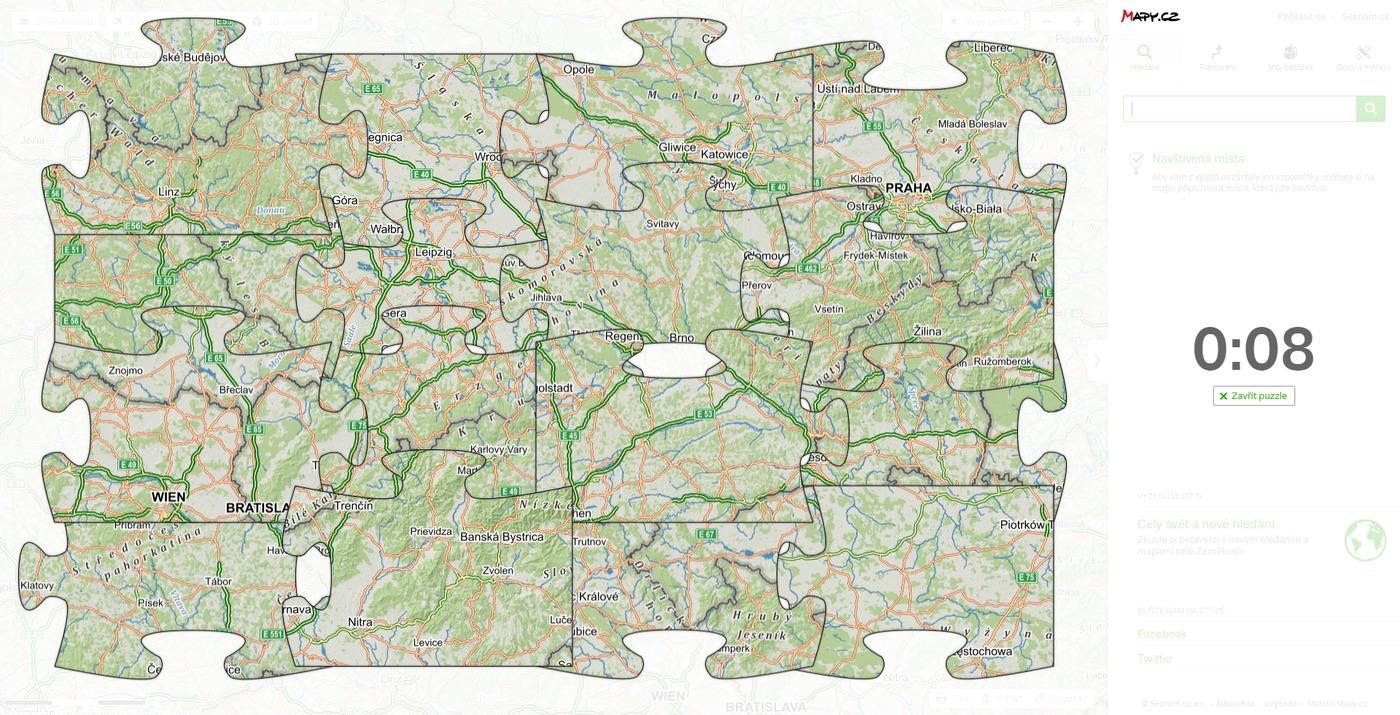 Mapa na Seznamu rozložená na puzzle