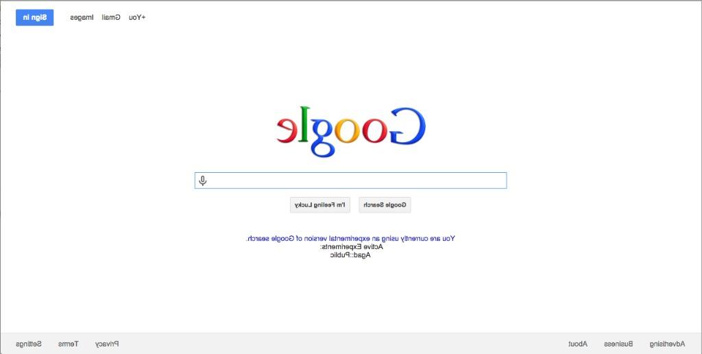 Zrcadlově otočený google.com