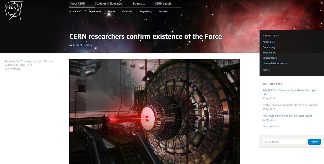 Tisková zpráva na stránkách CERNu