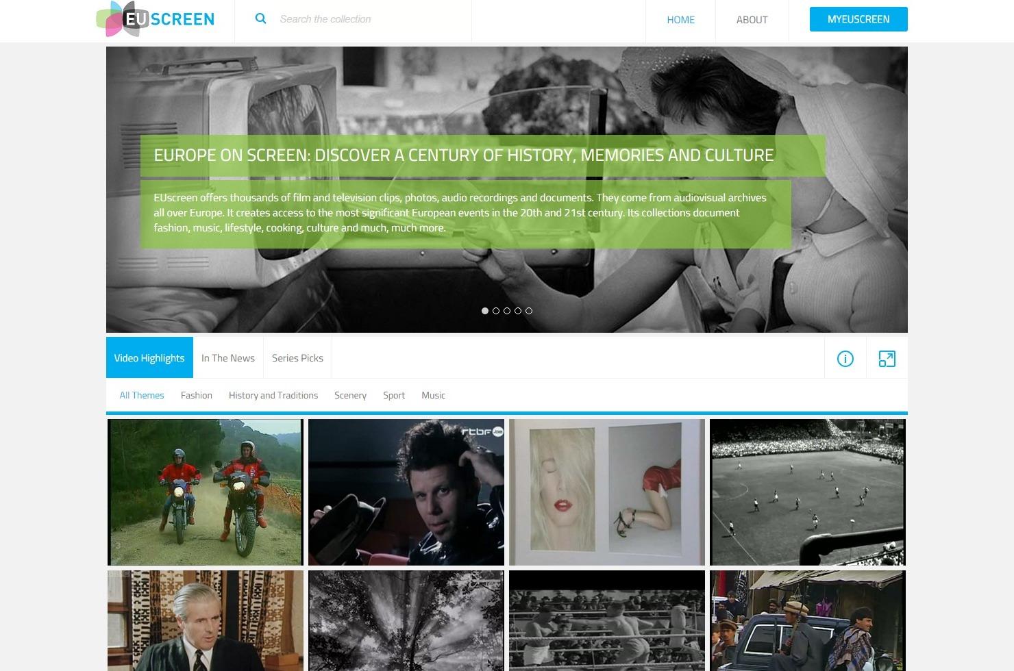 Webové stránky projektu EUscreenXL