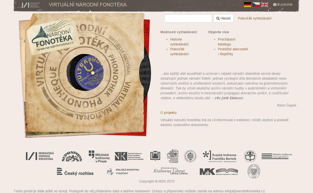 Hlavní stránka Virtuální národní fonotéky