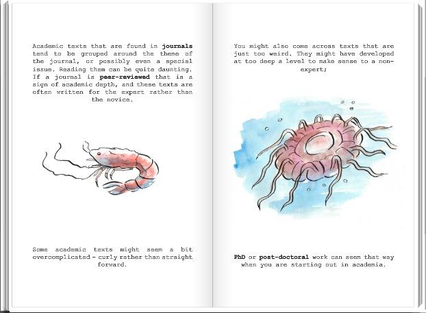 Ukázka z knihy přirovnávající informační zdroje k více či méně přitažlivým mořským tvorům