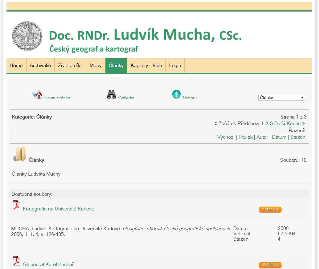 Ukázka prostředí webu doc. Muchy
