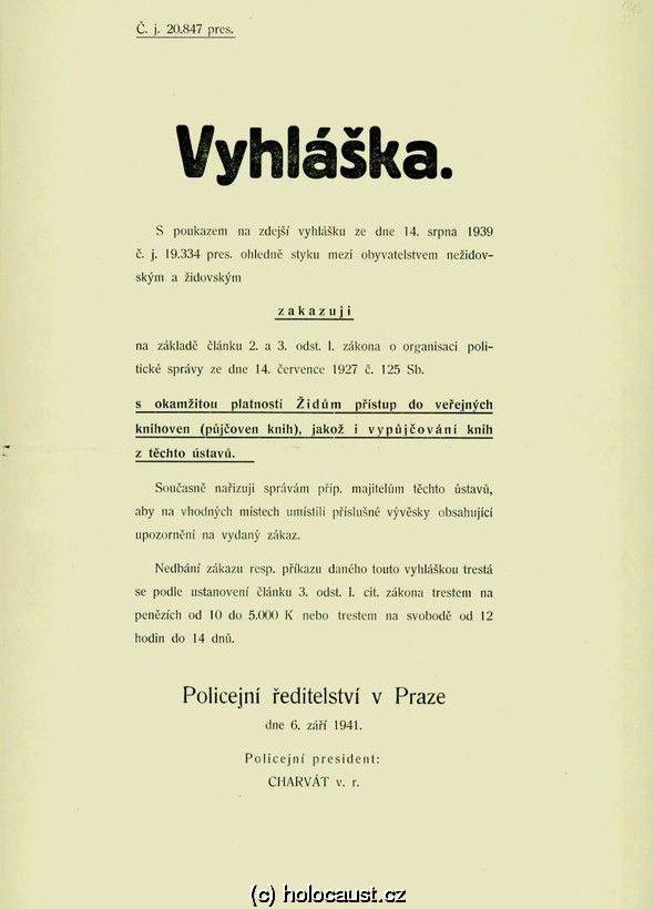 Vyhláška zakazující vstup Židů do veřejných knihoven
