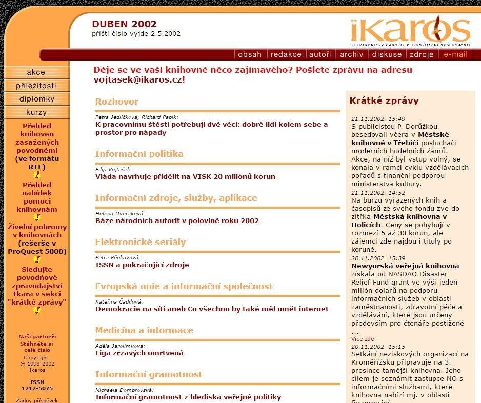 Webové stránky Ikara v roce 2002