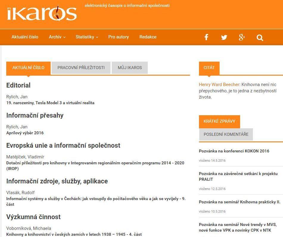 Webové stránky Ikara v roce 2016