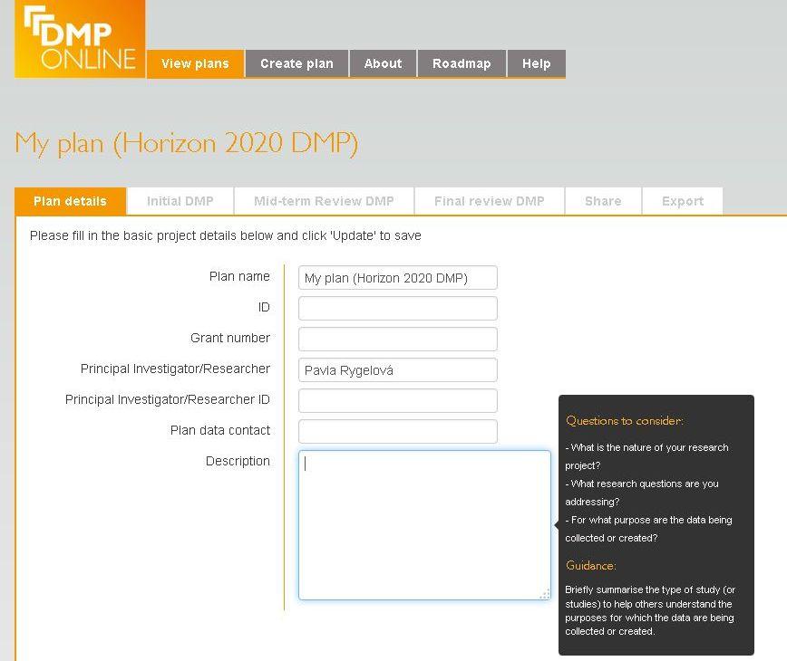 Ukázka formuláře DMPonline