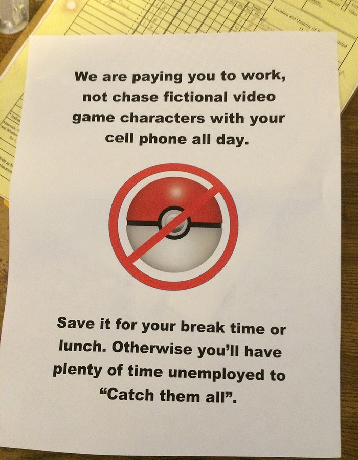 Zákaz lovení pokémonů v práci