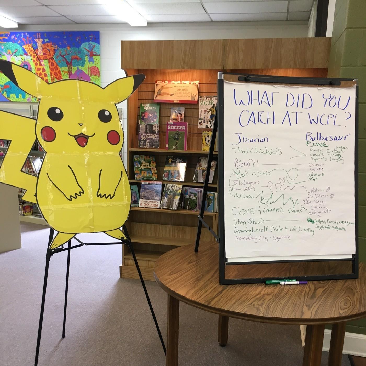 Galerie ulovených pokémonů ve Washington Count Public Library
