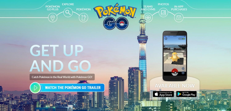 Webové stránky aplikace Pokemon Go