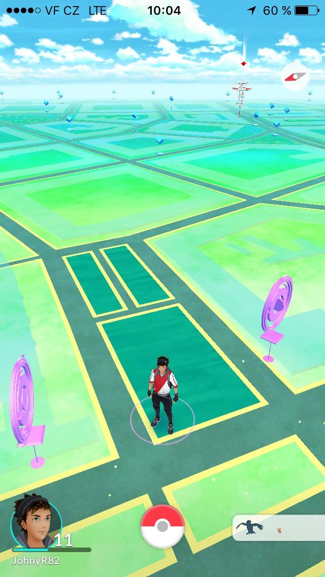 Herní mapa v aplikaci Pokémon Go