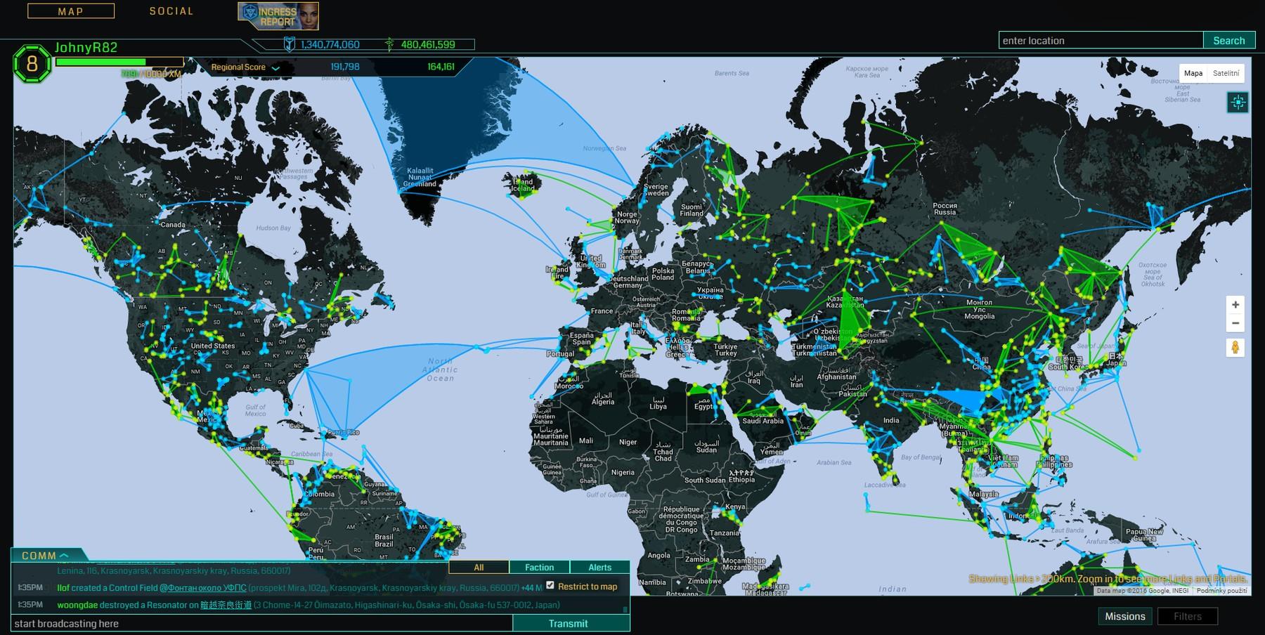 Ingress Intel - globální herní mapa