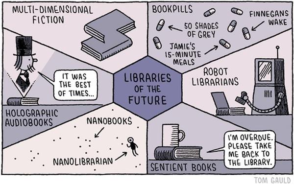 Knihy, knihovny a knihovníci vzdálenější budoucnosti: holografické knihy, knižní AI, roboknihovníci atd.