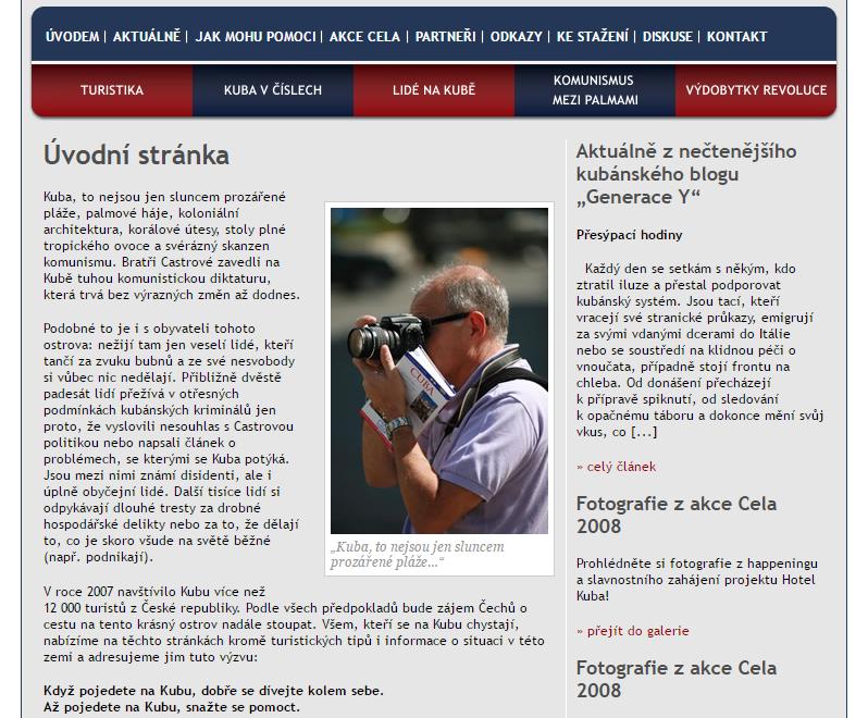 Webová stránka hotel-kuba.cz v roce 2008