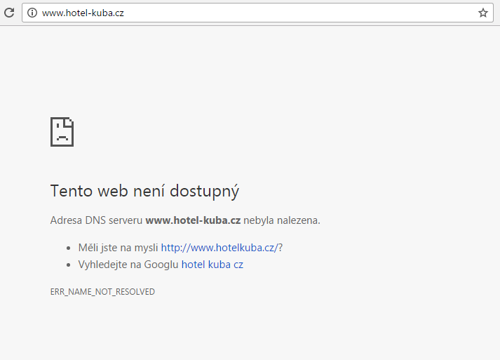 Webová stránka hotel-kuba.cz dnes