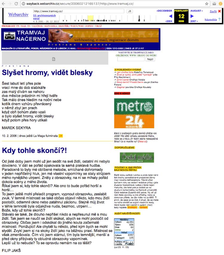 Původní obsah webových stránek tramvaj.cz