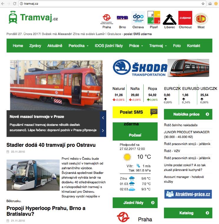 Aktuální obsah webových stránek tramvaj.cz