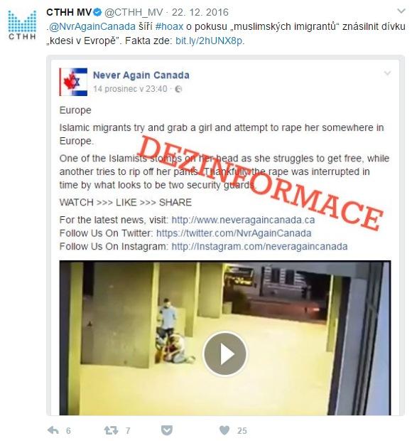Příklad tweetu Centra proti terorismu a hybridním hrozbám