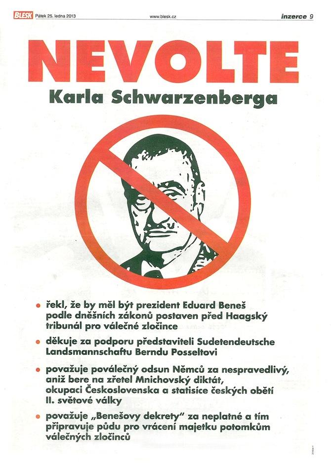 Inzerát Nevolte Karla Schwarzenberga