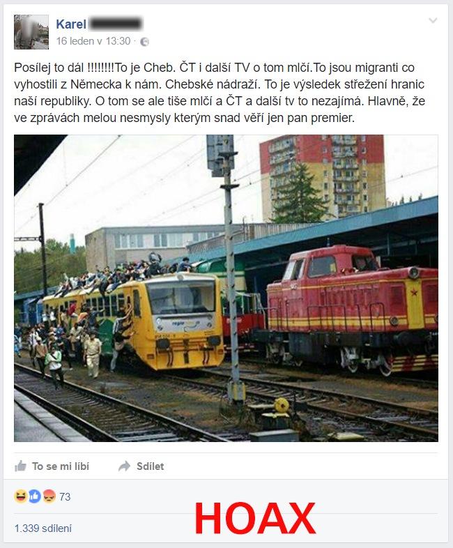 Příklad hoaxu o uprchlících na nádraží v Chebu